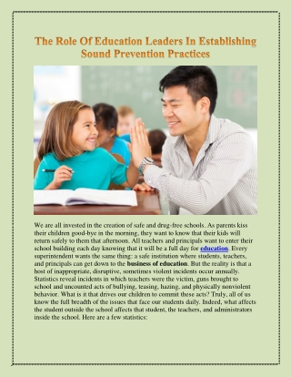 The Role Of Education Leaders In Establishing Sound Prevention Practices