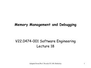 Memory Management and Debugging