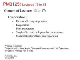 PM3125:  Lectures 13 to 15