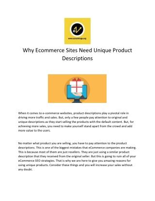 Why Ecommerce Sites Need Unique Product Descriptions