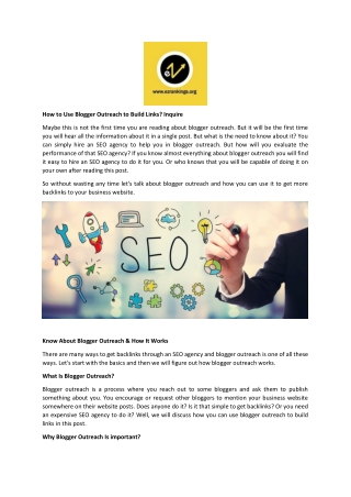 How to Use Blogger Outreach to Build Links Inquire