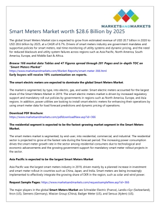 Smart Meters Market worth $28.6 Billion by 2025