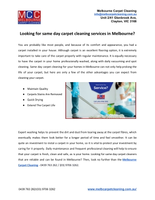 Looking for same day carpet cleaning services in Melbourne?