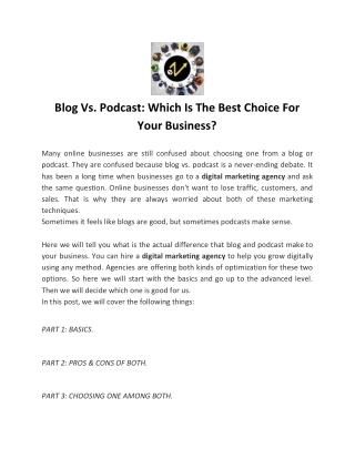 Blog Vs. Podcast: Which Is The Best Choice For Your Business?
