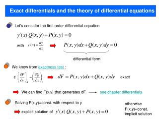 Exact differentials and the theory of differential equations