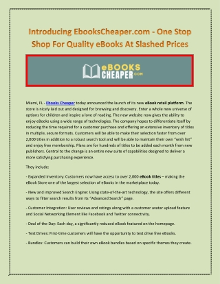Introducing EbooksCheaper.com - One Stop Shop For Quality eBooks At Slashed Prices