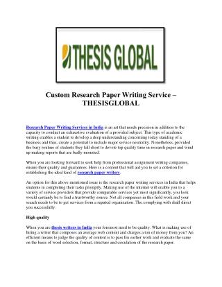 Professional Dissertation Writers India