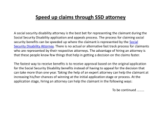 Speed up claims through SSD attorney