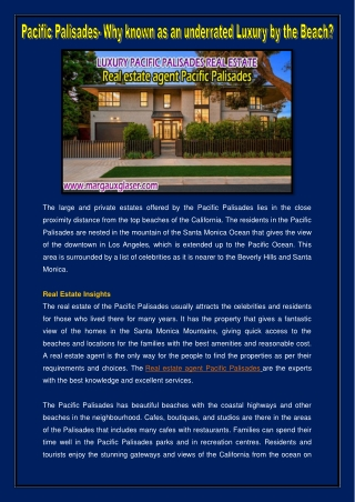 Real estate agent Pacific Palisades