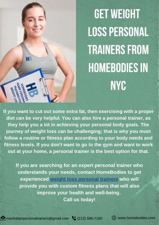 Get Weight Loss Personal Trainers from HomeBodies in NYC
