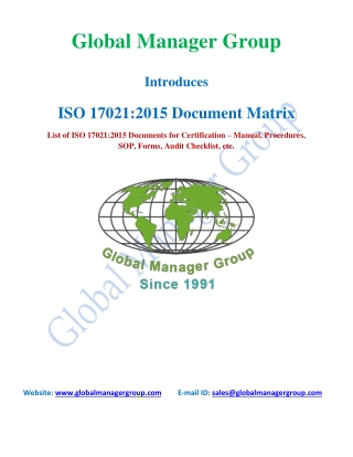 List of required document for ISO 17021:2015 Certification
