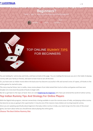What Are The Top Online Rummy Tips For Beginners?
