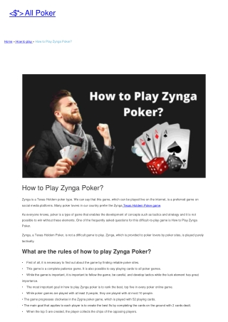 How to Play Zynga Poker?