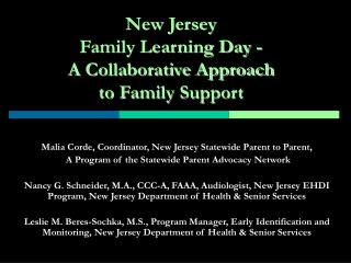 New Jersey  Family Learning Day - A Collaborative Approach  to Family Support