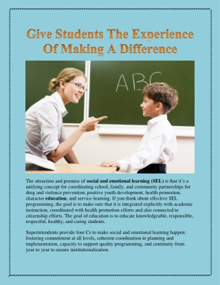 Give Students The Experience Of Making A Difference