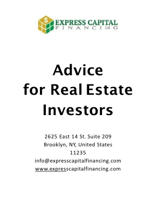 Advice for Real Estate Investors   Private Money Lenders For Real Estate