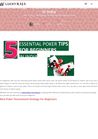 Poker Strategy – 5 Essential Poker Tips For Beginners In India