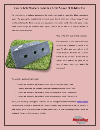 How 3- hole Washers Game is a Great Source of Outdoor Fun