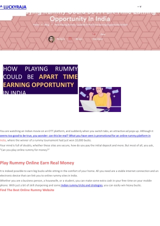 How Playing Rummy Could Be A Part Time Earning Opportunity In India