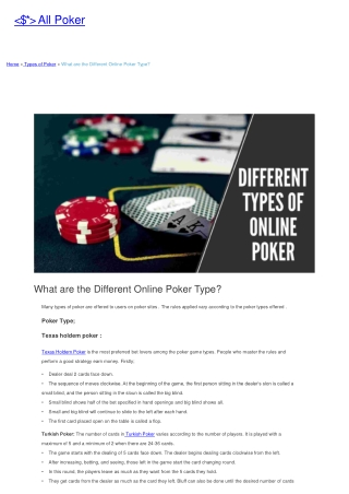 What are the Different Online Poker Type?