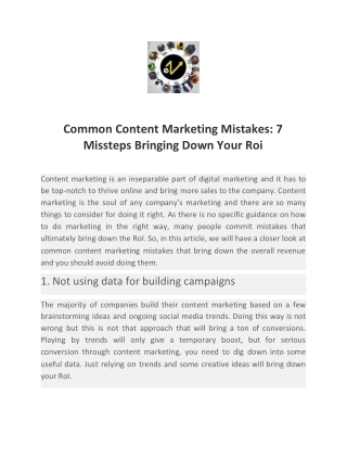 Common Content Marketing Mistakes: 7 Missteps Bringing Down Your Roi