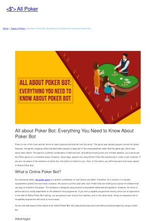 All about Poker Bot: Everything You Need to Know About Poker Bot