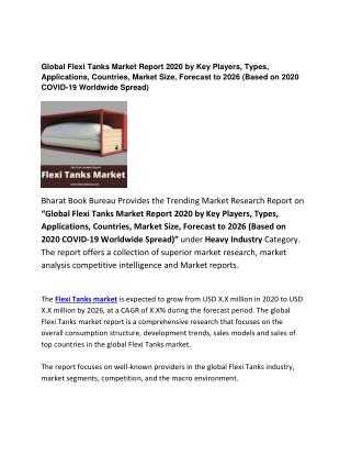 Global Flexi Tanks Market Report 2020 Forecast: 2026