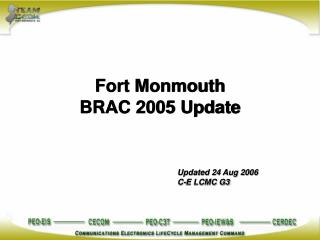 Fort Monmouth  BRAC 2005 Update