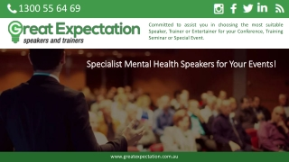 Specialist Mental Health Speakers for Your Events!