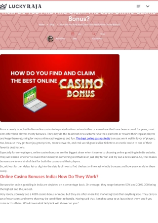 How Do You Find And Claim The Best Online Casino Bonus?