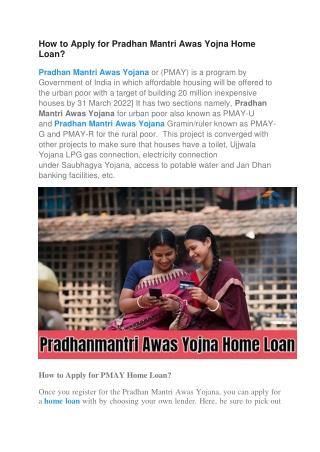 How to Apply for Pradhan Mantri Awas Yojna Home Loan?