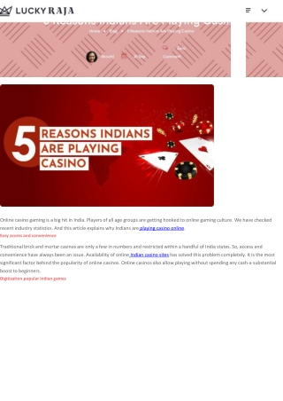 5 Reasons Indians Are Playing Casino