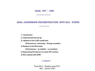 AXIAL  PET  -  HPD                                             --------------------            AXIAL COORDINATE RECONSTR