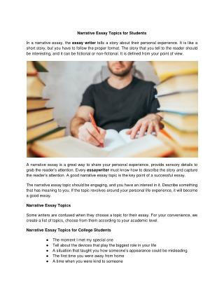 Narrative Essay Topics for Students