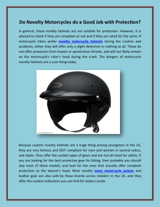 Do Novelty Motorcycles do a Good Job with Protection?