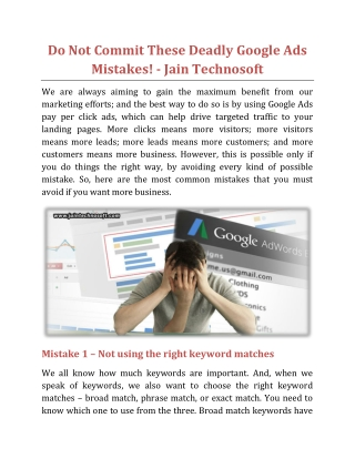 Do Not Commit These Deadly Google Ads Mistakes - Jain Technosoft