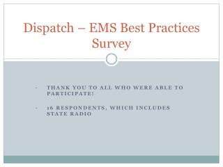 Dispatch   EMS Best Practices Survey