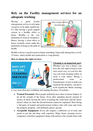 Home cleaning services Versus the housemaid