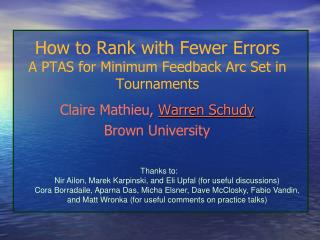 How to Rank with Fewer Errors A PTAS for Minimum Feedback Arc Set in Tournaments
