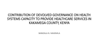 Health Care Financing Situation in Kenya