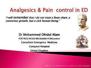 Analgesics & Pain  control in ED