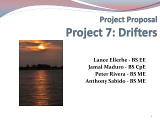 Project Proposal Project 7: Drifters