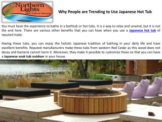 Why People are Trending to Use Japanese Hot Tub
