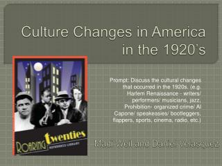 Culture Changes in America in the 1920's