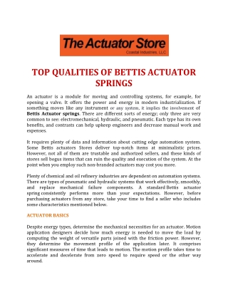 Top Qualities of Bettis Actuator Springs