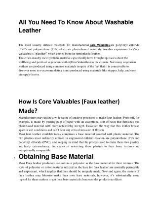 Good Quality Fabrics - Core Valuables
