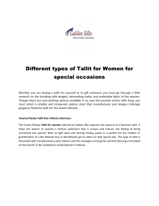 Different types of Tallit for Women for special occasions