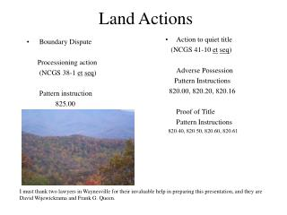 Land Actions