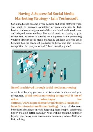 Having A Successful Social Media Marketing Strategy - Jain Technosoft