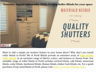 Essential Aspects to Consider While Picking Roller Blinds for yourspace